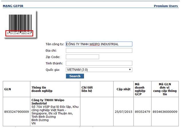 SBLaw đăng ký mã số mã vạch cho công ty Weipo Industrial