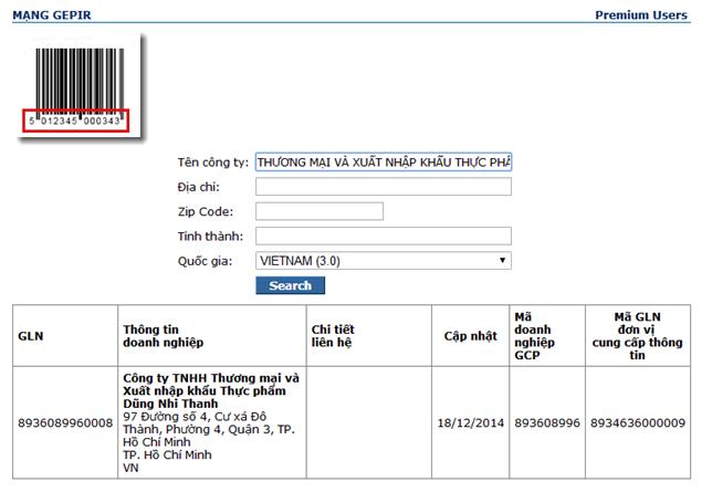 SBLaw đăng ký mã số mã vạch cho công ty THƯƠNG MẠI VÀ XUẤT NHẬP KHẨU THỰC PHẨM DŨNG NHI THANH