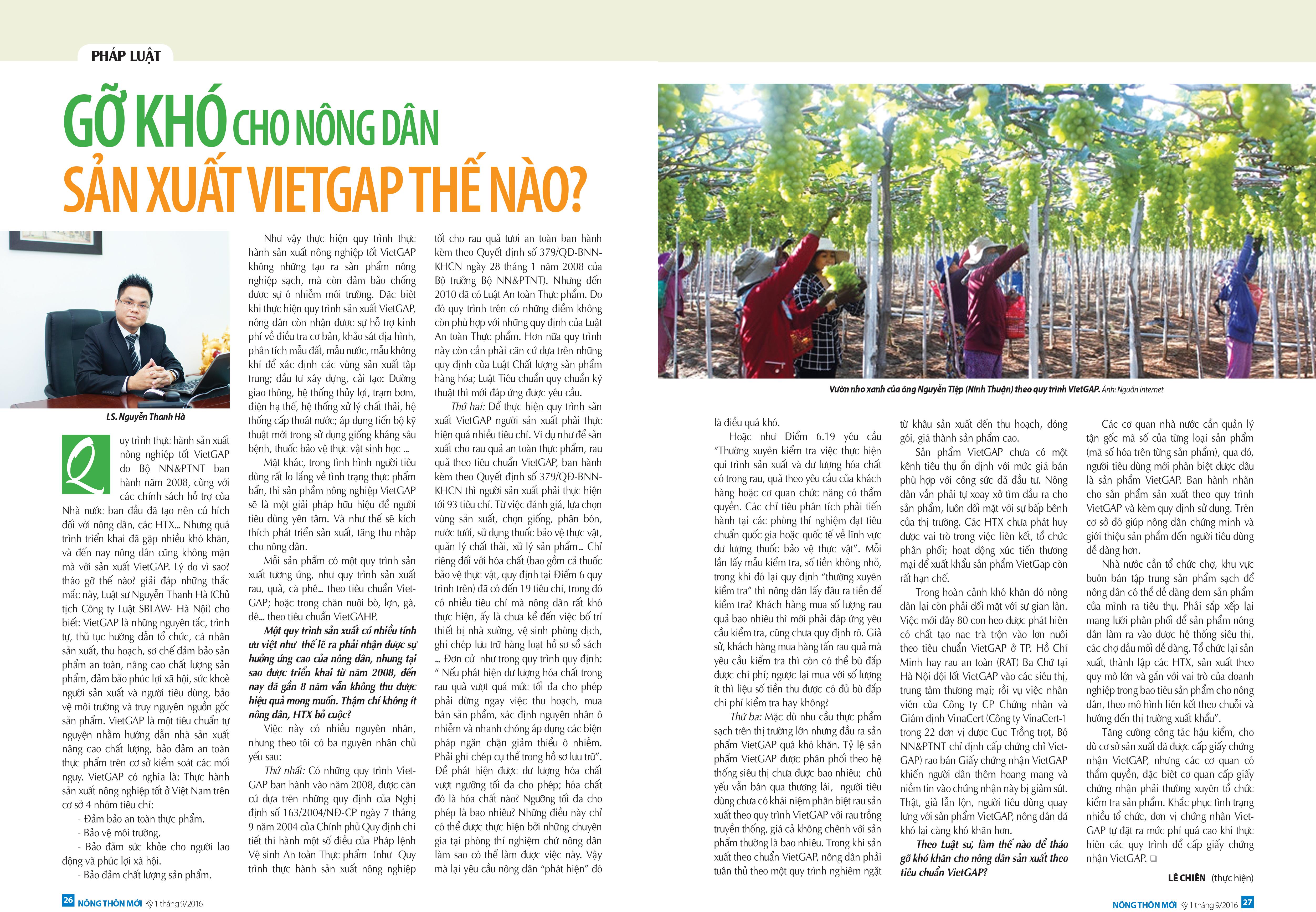 Gỡ khó cho nông dân sản xuất Vietgap thế nào?