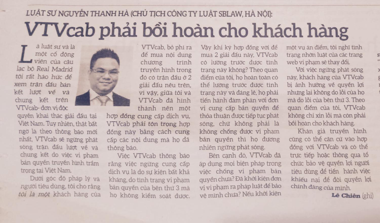 Luật sư SBLAW đưa ý kiến về việc VTVCab ngừng phát sóng Champion League và Europa League tại Việt Nam.