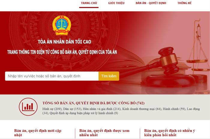 Chính thức khai trương Trang thông tin điện tử công bố bản án, quyết định của Tòa án