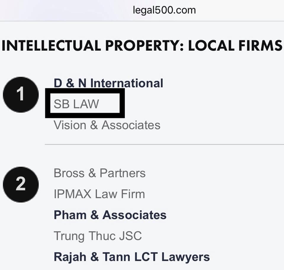 SBLAW được đánh giá là hãng luật hàng đầu Việt Nam về sở hữu trí tuệ năm 2018