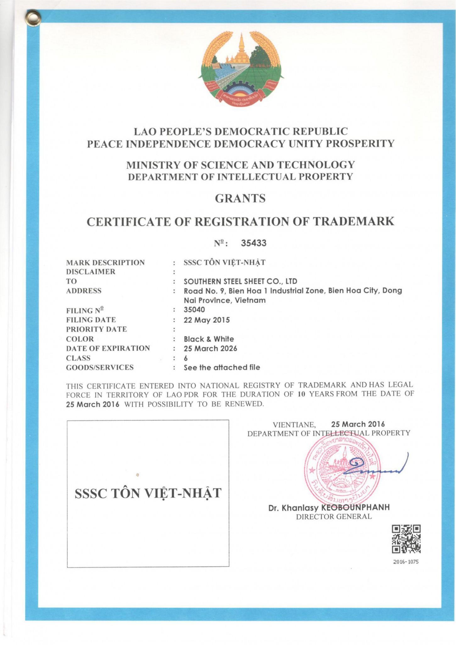 SB LAW đã tư vấn cho doanh nghiệp Việt Nam đăng ký thành công nhãn hiệu tại Lào