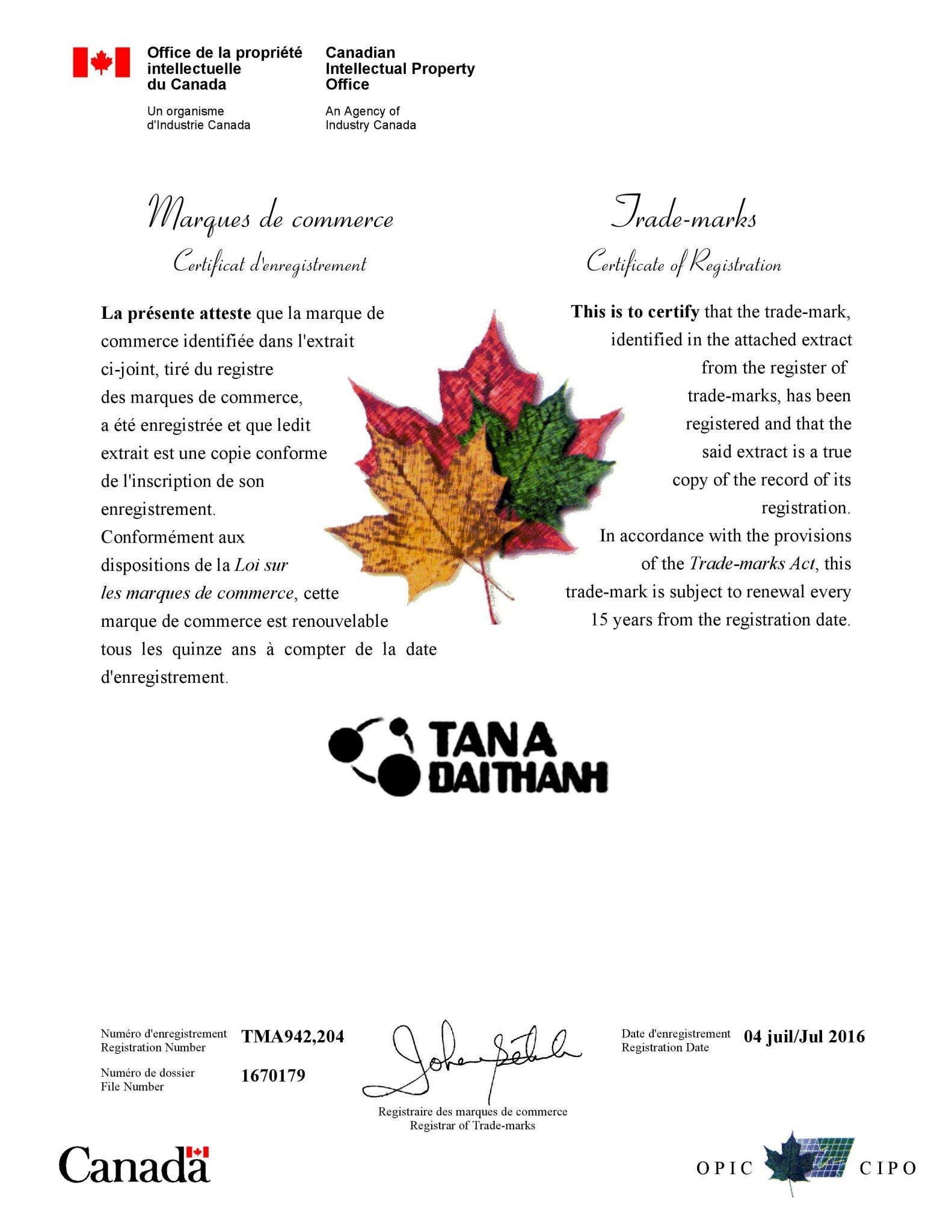 SB LAW đã hỗ trợ Khách hàng đăng ký thành công nhãn hiệu ở Canada