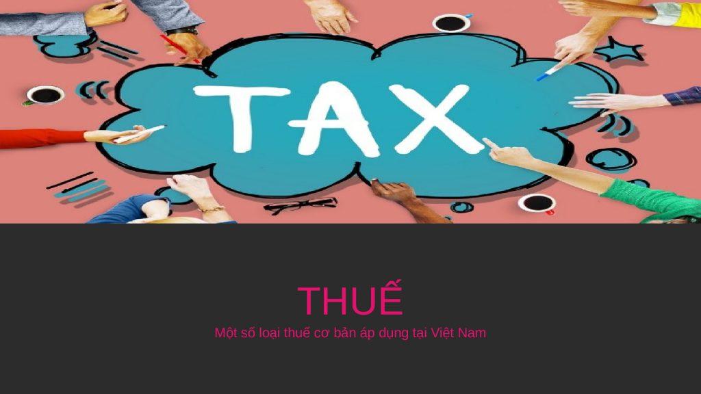 Một số loại thuế cơ bản áp dụng tại Việt Nam