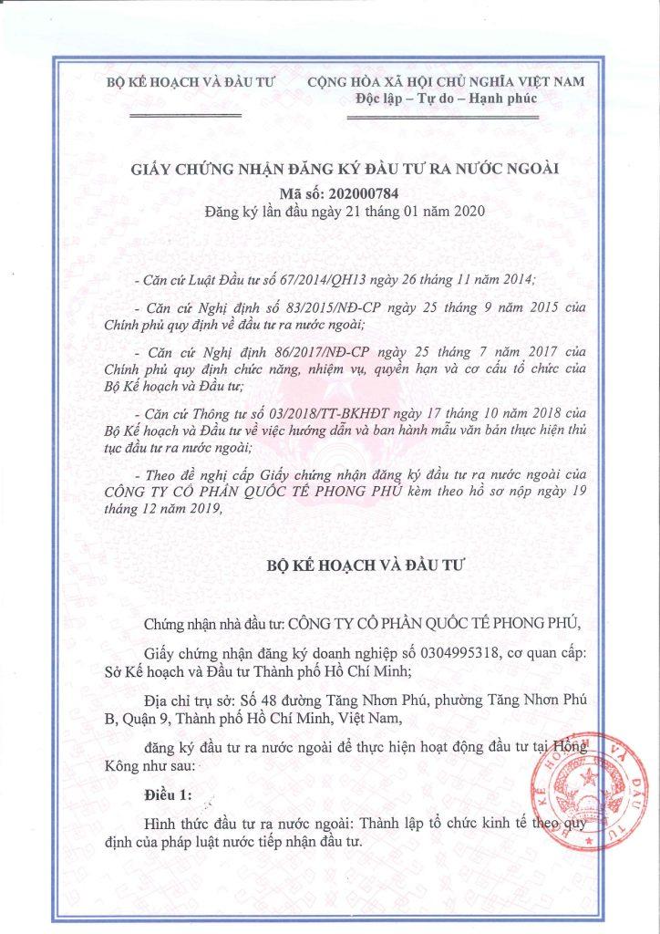 SB Law tư vấn Công ty cổ phần Quốc tế Phong Phú đầu tư ra nước ngoài
