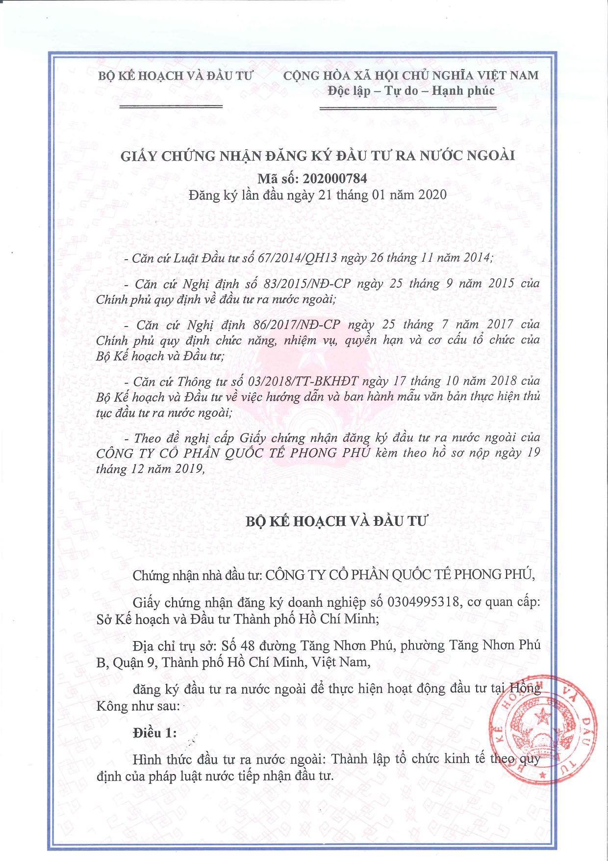 SB Law tư vấn Công ty cổ phần Quốc tế Phong Phú đầu tư ra nước